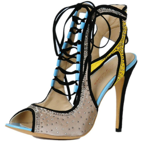 ФОТО Women's Stiletto Lace Up Ankle Wrap Sandals Ladies Gladiator Shoes Peep Toe Pumps for Casual Dress Big EU Size 35-46
