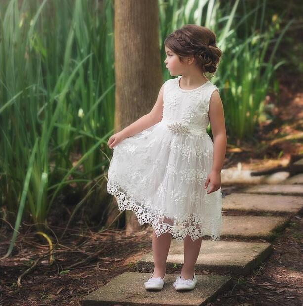 EMS DHL Free Shipping toddler Little Girl's 2017 White Lace Dress Rhinestone Waist band Wedding Dress Summer Children Clothing ps 5201 02 hk300 83fp dps 275lb a a4600r used disassemble dhl ems free shipping