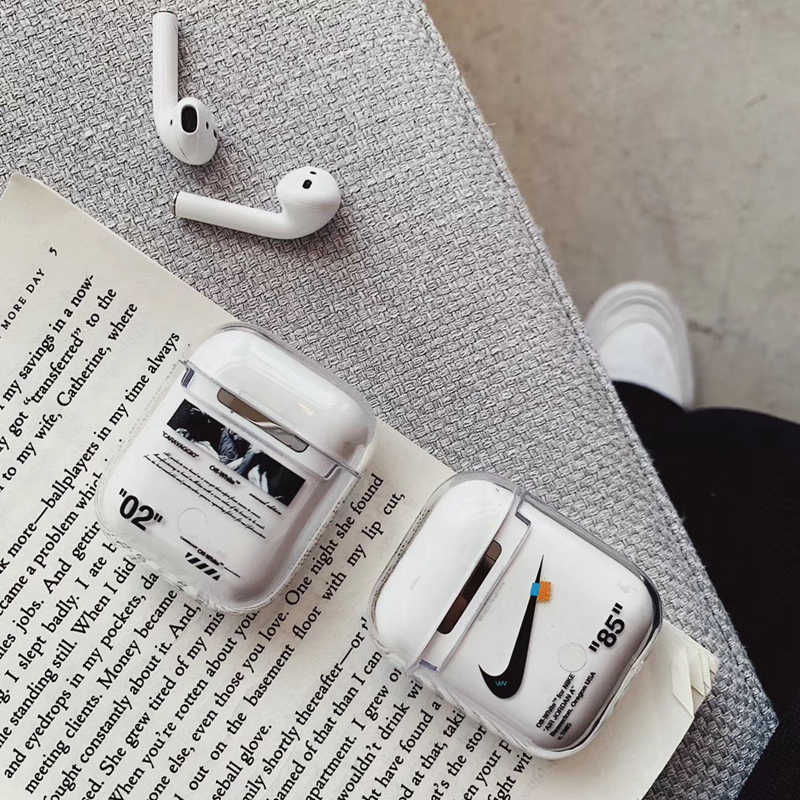 40af75e0816 Fashion Tide Off Luxury Case For Apple AirPods 1 2 Cover White Transparent  Hard Bluetooth Earphone