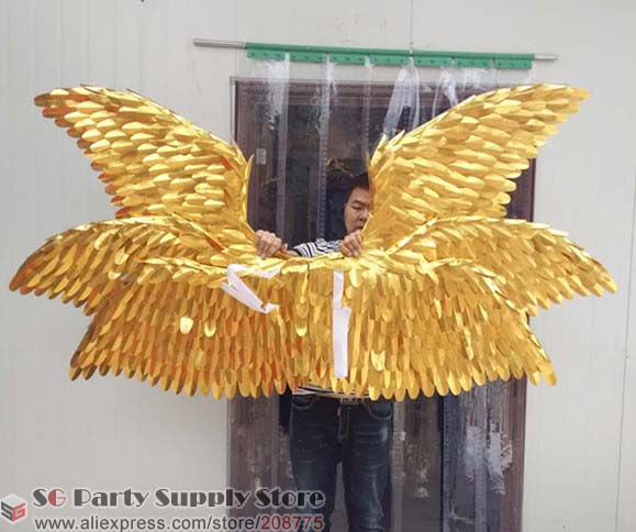 Customized Special Gold Angel Wings Cosplay Shooting Display Props Party Stage Bar Decorations Fashion Accessories Free