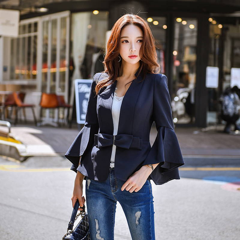 Dabuwawa Spring Office Lady Elegant Bow Suits Women 2019 New Flare Sleeve Notched Blazer Outwear Top