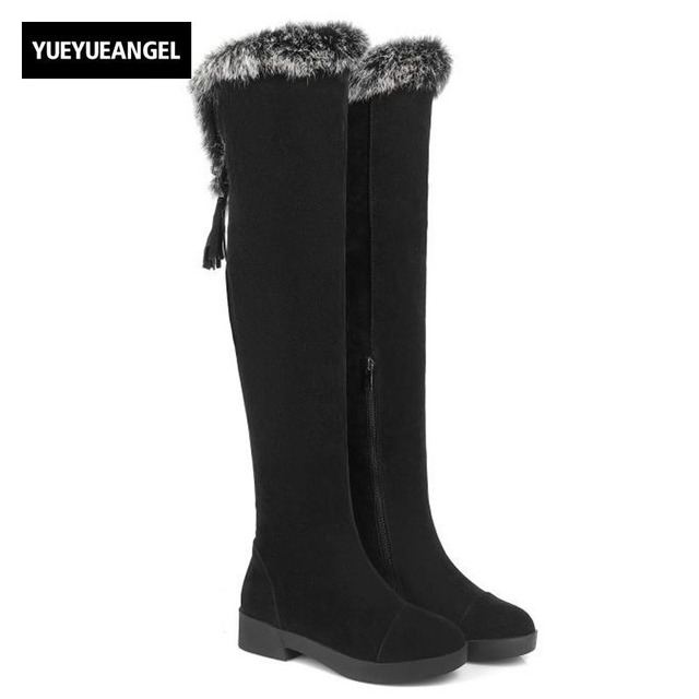 f9a1c76b82e43 Winter Fur Trim Womens Over Knee High Boots Block Chunky Heel Warm Snow  Boots Tassels Fashion Street Wear Shoes Female Footwear