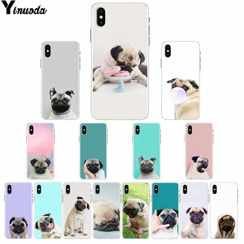 Yinuoda Animal Cute Pug Dog Colorful Cute Phone Accessories Case for iPhone X XS MAX 6 6S 7 7plus 8 8Plus 5 5S XR