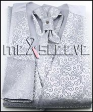 Hot seller!!! free shipping  silver floral  man's formal suit waistcoat 4pcs