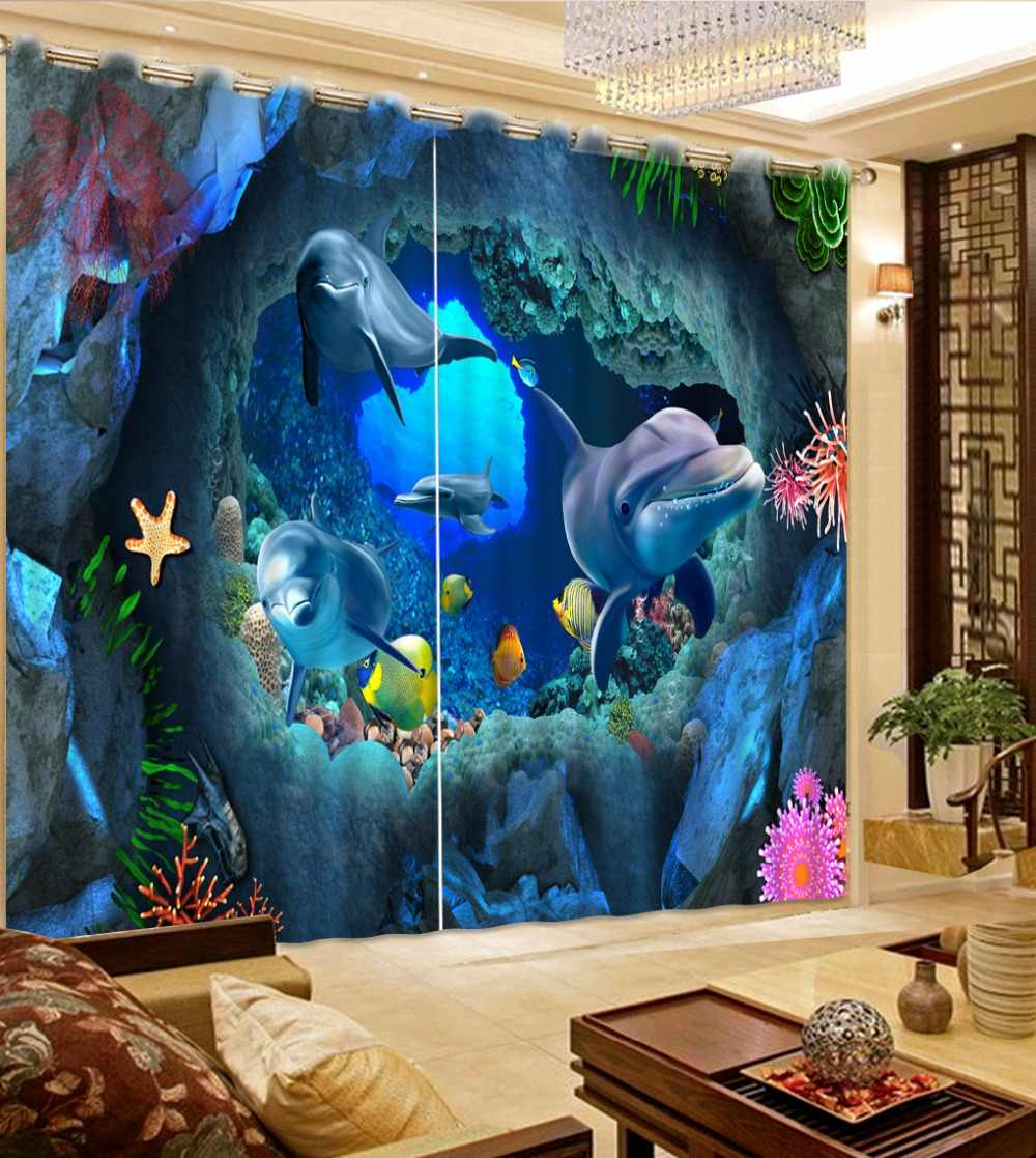 3D Curtains underwater world dolphins Window Treatments Printing Bedroom Curtains Children Room Curtains Custom any size
