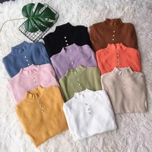 Sweater 2018 Casual Women And Pullovers Long Sleeve Button Elegant O-Neck Chic Female Slim Knit Top soft Jumpe