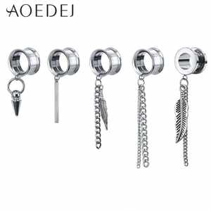 AOEDEJ Dangle-Ear-Plugs Tunnel Piercing 5-22mm 316l-Stainless-Steel Tassel Drop And De-Orelha