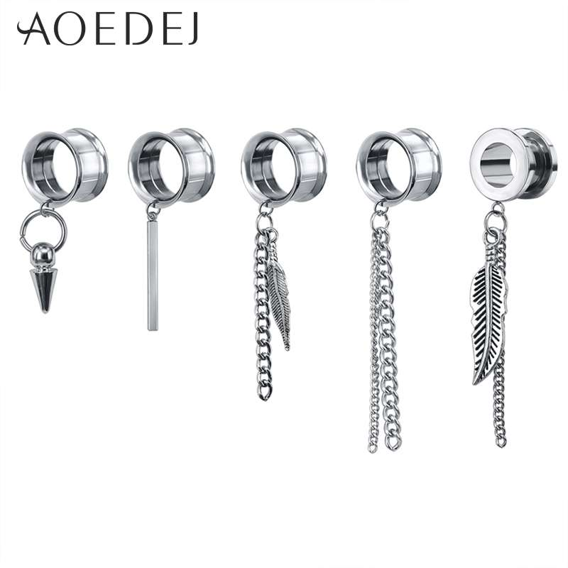 AOEDEJ 5-22mm 316L Stainless Steel Feather Dangle Ear Plugs and Tunnel Drop Tassel Piercing de orelha Tunnel Alargador de orelha image