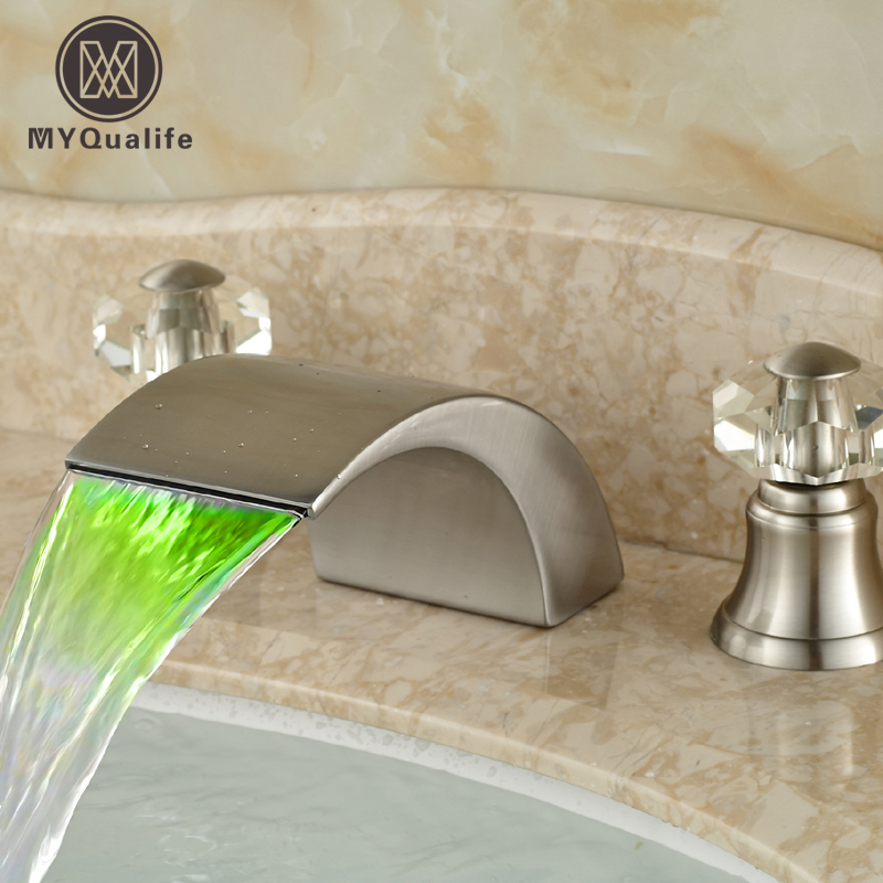 Luxury LED Light Brushed Nickel Basin Sink Mixer Faucet Deck Mount Waterfall Deck Mount 3 Hole Water Taps brushed nickel led light bathroom waterfall basin sink mixer taps dual handle basin faucet with hot cold water