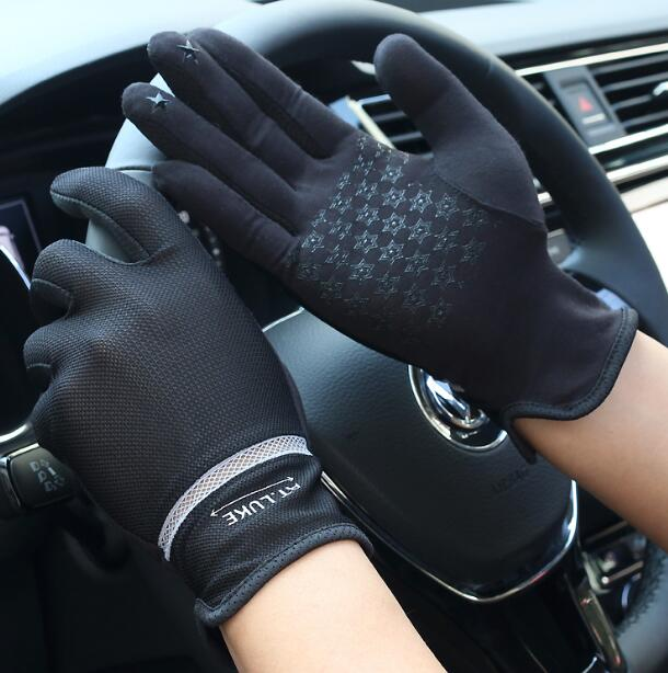 Men's Spring Summer Thin Elastic Letter Print Short Gloves Male Summer Sunscreen Full Palm Touchscreen Driving Glove R1244