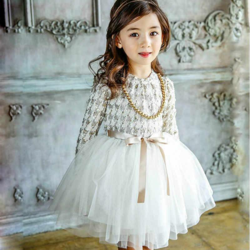 b0cbb223499f3 New Girls Autumn Winter Dress with Necklace Houndstooth Girls Princess  Dresses Kids Clothes Girl Children Party Dress CE032