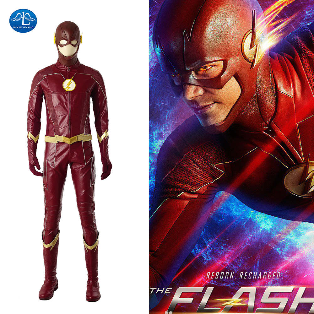 <font><b>The</b></font> <font><b>Flash</b></font> Season 4 Barry Allen Costume Men <font><b>The</b></font> <font><b>Flash</b></font> <font><b>Cosplay</b></font> Costume Barry Allen Suit Superhero <font><b>The</b></font> <font><b>Flash</b></font> Costume <font><b>With</b></font> <font><b>Boots</b></font> image