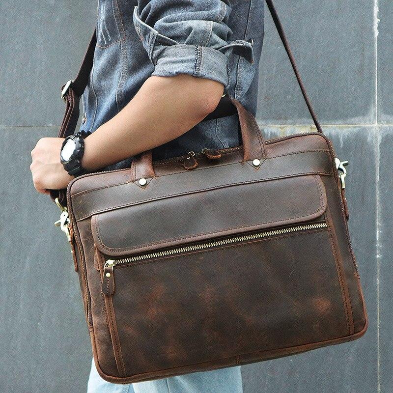J.M.D 100% Vintage Leather Laptop Bag Men Briefcase Portfolio Handbag Messenger Bag 7388RJ.M.D 100% Vintage Leather Laptop Bag Men Briefcase Portfolio Handbag Messenger Bag 7388R