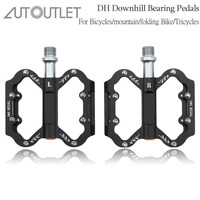 AUTOUTLET New Bike Bicycle Cycle Pedals MTB BMX DH Downhill Aluminum Pedals 9/16 Bearing Flat/Platform Cycling Pedals