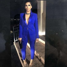 suits for women two pieces set formal long sleeve slim blaze