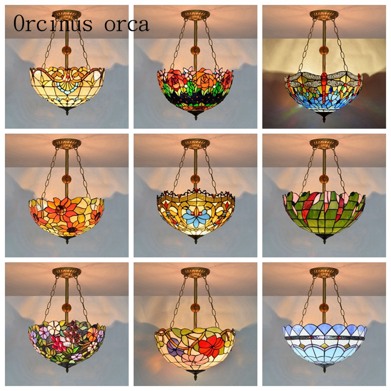 European Creative Color Glass Living Room Bar Restaurant Mediterranean Baroque Personalized Chandelier Free Shipping