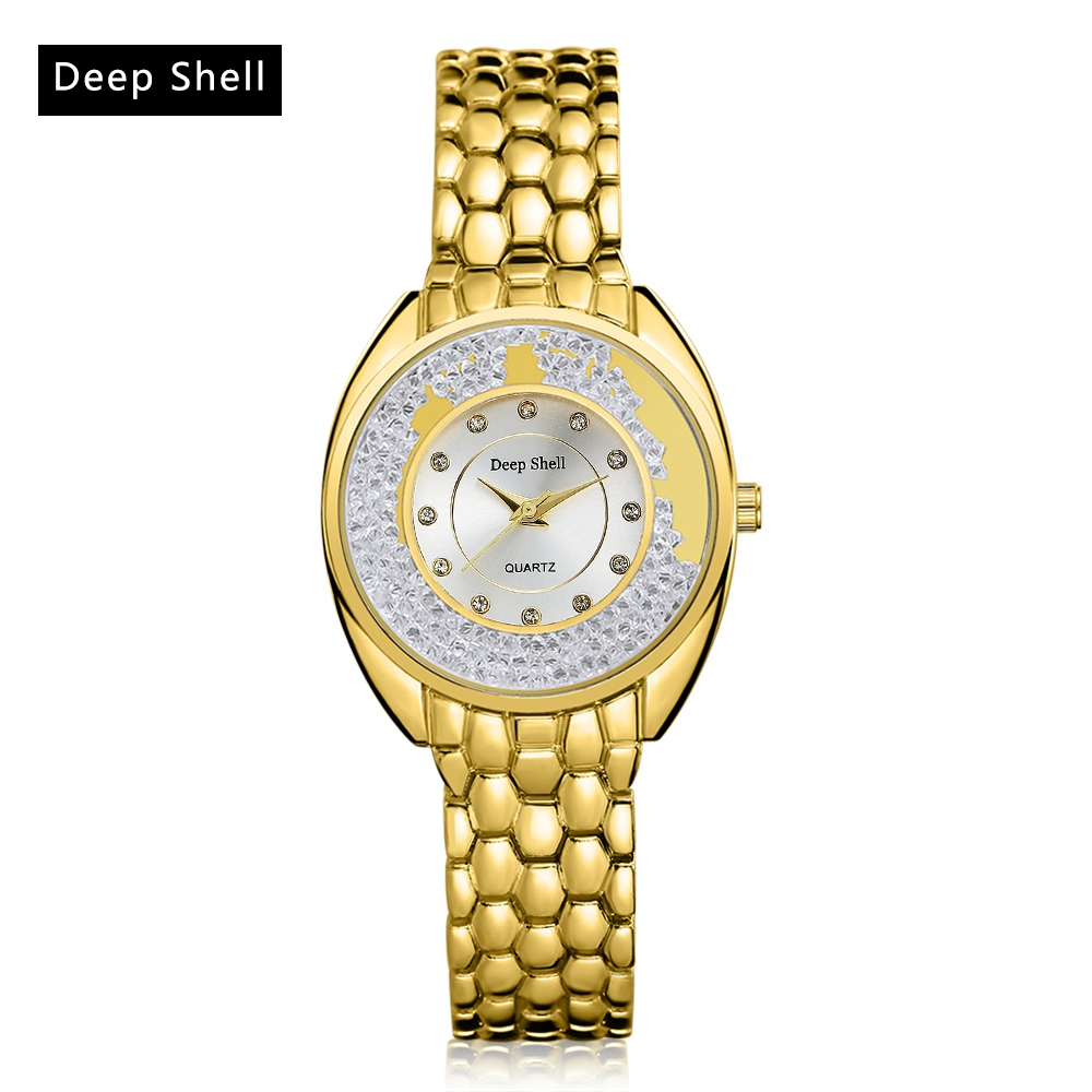 2017 Deep Shell Brand Gold Stainless Steel Watch Diamond Quartz Ladies WristWatches Fashion Luxury Quartz Women Watches DS010 onlyou luxury brand fashion watch women men business quartz watch stainless steel lovers wristwatches ladies dress watch 6903
