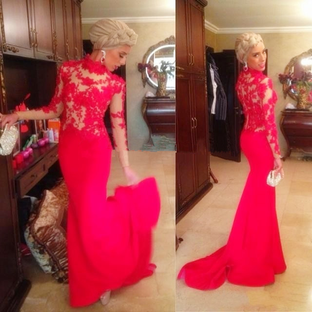 2018 Elegant Vestido De Festa Lace Mermaid Evening Long Sleeves Red Appliques Lace Formal Prom Gown Mother Of The Bride Dresses