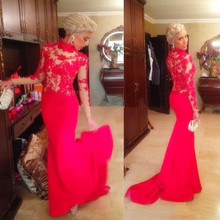 2015 Elegant Vestidos De Fiesta Sheer Lace Mermaid Evening Dresses Long Sleeves Red Appliques Formal prom Gowns