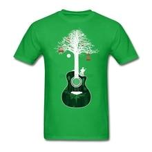 Men's Geek Acoustic Guitar Shirt Custom Short Sleeve Tree Root Tee Shirts Hip Hop