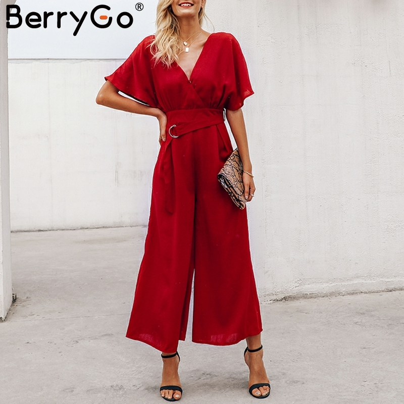 BerryGo Red ruffle sleeve jumpsuit women sexy deep v neck spring 2019 jumpsuit Elegant sash wide leg casual streetwear jumpsuit