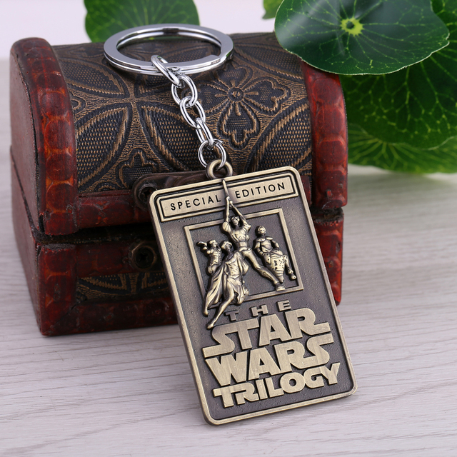 Star Wars Keychains Trilogy Letters Keyring 2 Colors Vintage Square 6*4cm Zinc Alloy Key Chain for Gift