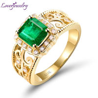Big Sale!Emerald Cut 6x8mm Emerald Ring With Natural Diamond Gemstone Ring In Solid 14K Yellow Gold Ring Sale WU018