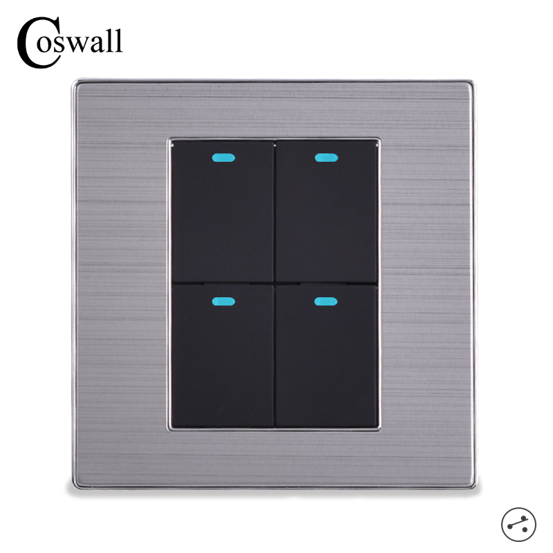 COSWALL Power Conmutador 4 Gang 2 Way Luxury LED Light Switch On / Off Wall Switch Brushed Silver Panel 10A AC 110~250VCOSWALL Power Conmutador 4 Gang 2 Way Luxury LED Light Switch On / Off Wall Switch Brushed Silver Panel 10A AC 110~250V