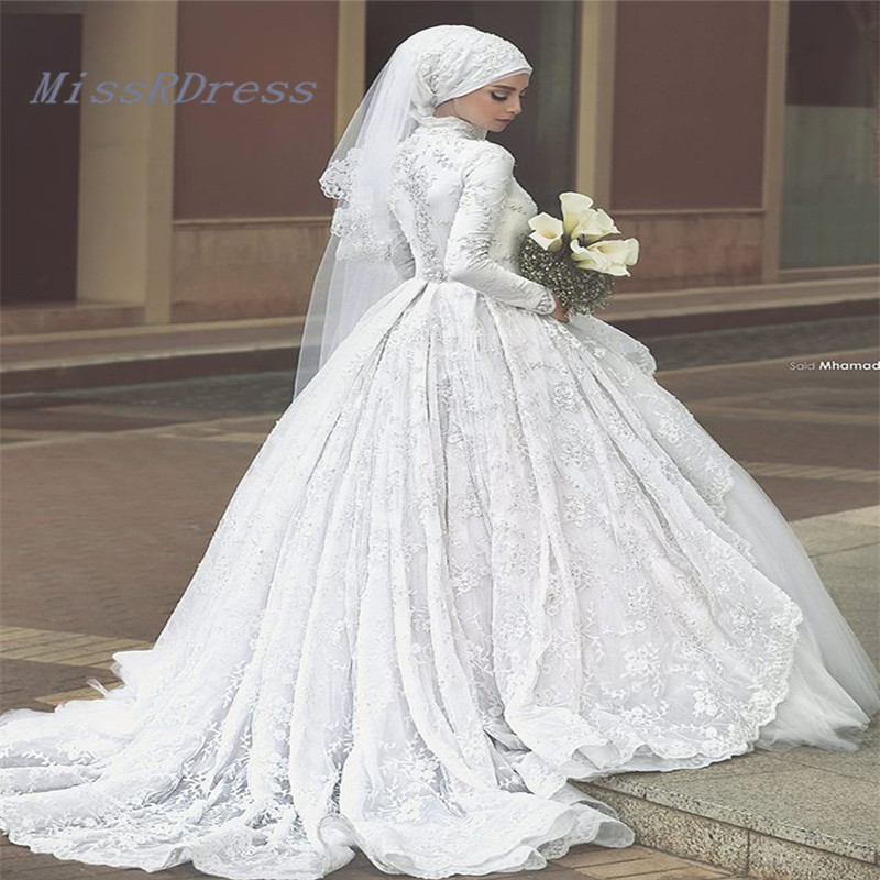 2017 Gorgeous Ball Gown High Collar Muslim font b Hijab b font Bridal Wedding Dress Lace