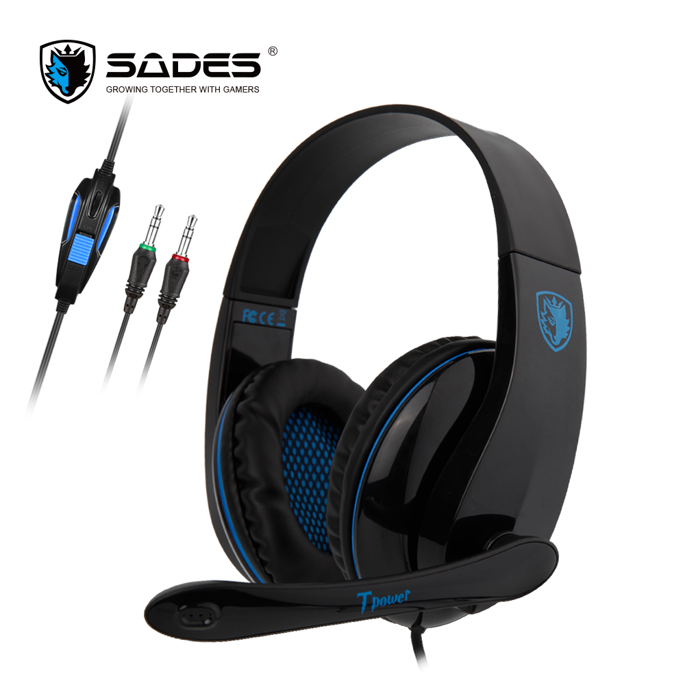 SADES TPOWER Gaming Headset Headphones 3.5mm Stereo Sound Noise Cancelling For PC/XBOX/PS4 huhd hw 398 optical fiber 2 4g wireless professional stereo gaming headset for xbox one xbox 360 ps4 ps3