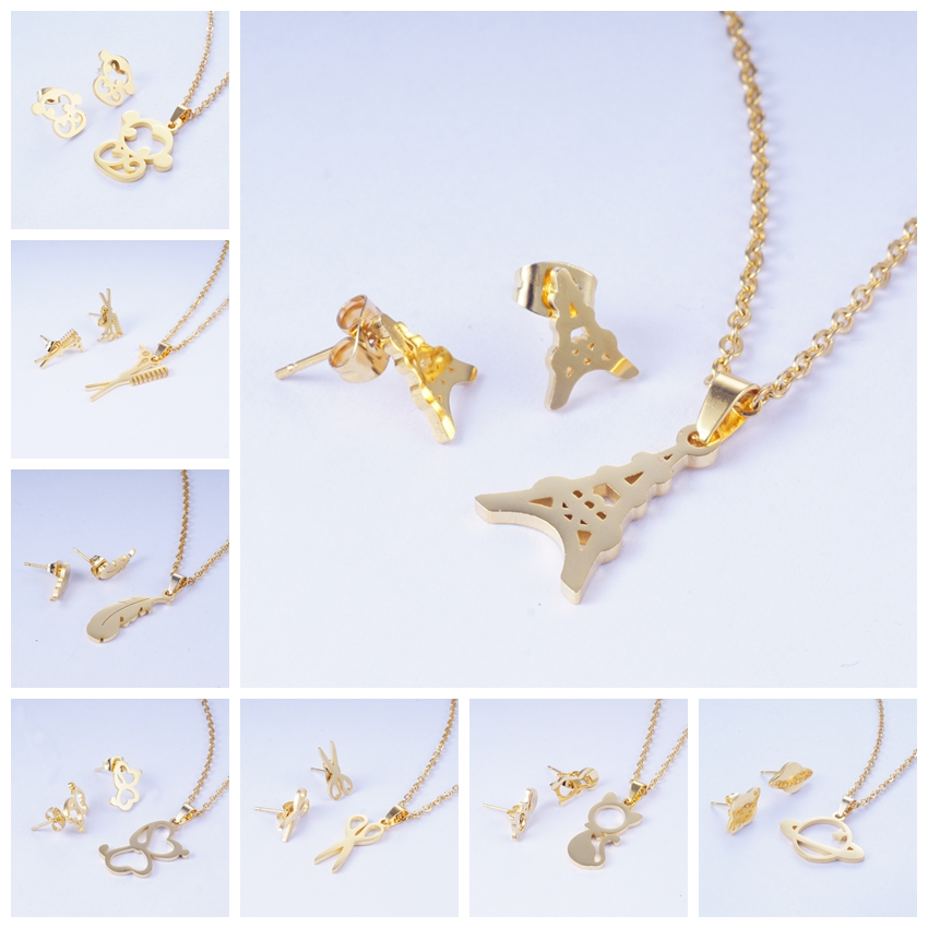 Yunkingdom Earrings Necklace-Set Pendant Jewelry Tower Stainless-Steel Leaf-Design Fashion
