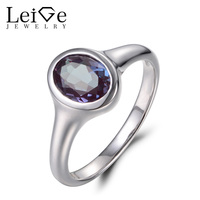 Leige Jewelry Promise Ring Alexandrite Ring Oval Cut Color Changing Gems Real 925 Sterling Silver Fine Jewelry June Birthstone