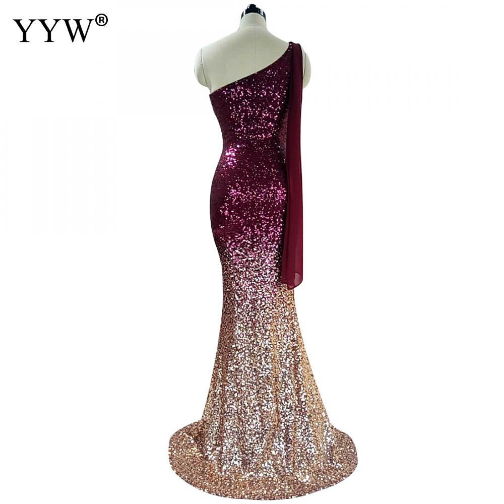 Fishtail Gradient Sequined Long Dress Women 2019 Sexy One Shoulder Cape Cloak Sleeve Slim Mermaid Long Party Dress Club Vestidos