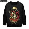 Sexemara moda gótico demônio menina 3d imprimir camisola preta outono casuais o-pescoço pulôver primavera kawaii sudaderas g35