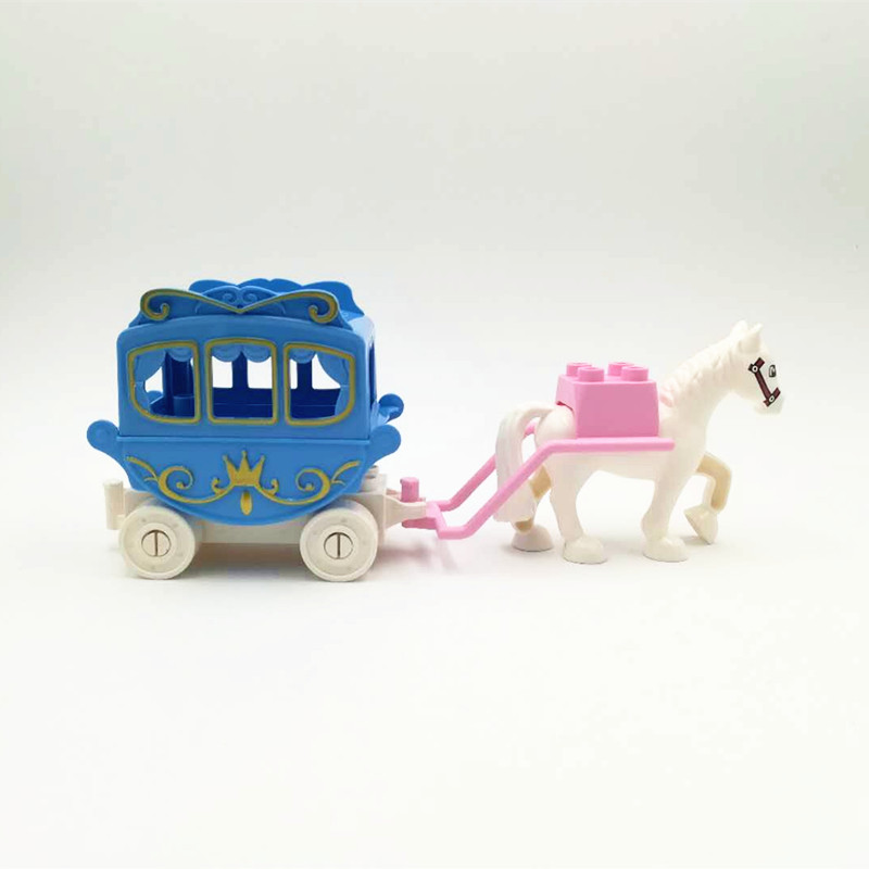 Diy Carriage Building Blocks Princess Compatible With Duplo Princess Horse Trailer Assemble Bricks set Educational Toys For Kids 120pcs farm building blocks diy toys early learning self locking bricks baby educational toys compatible with duplo play house