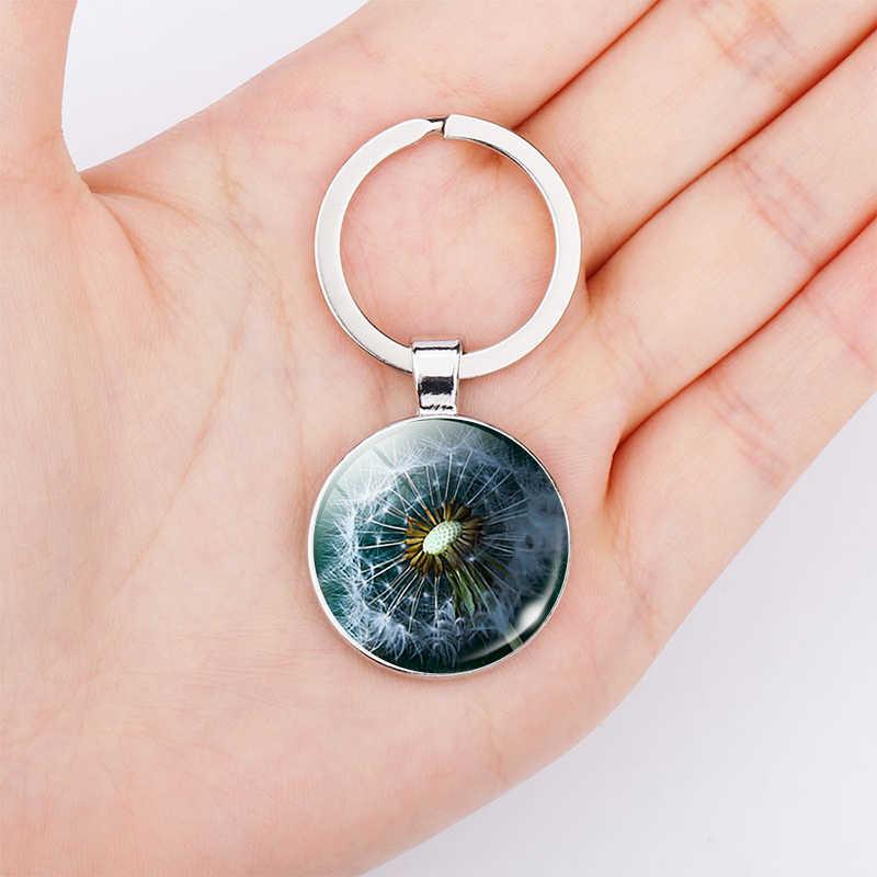 שן הארי מפתח תכשיטי שרשרת תליון אמנות אופנה לבן פרח זכוכית כיפת טבעי מפתח טבעת כסף מתכת מאהב מתנה