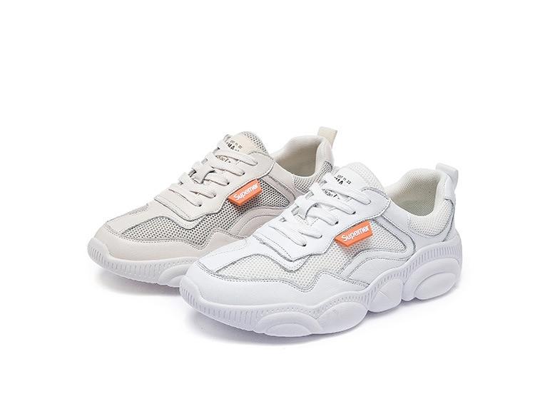 Zhenwei Casual White Shoes Comfortable Daddy Chunky Female Flat Low Cut Bear Platform Women Sneakers