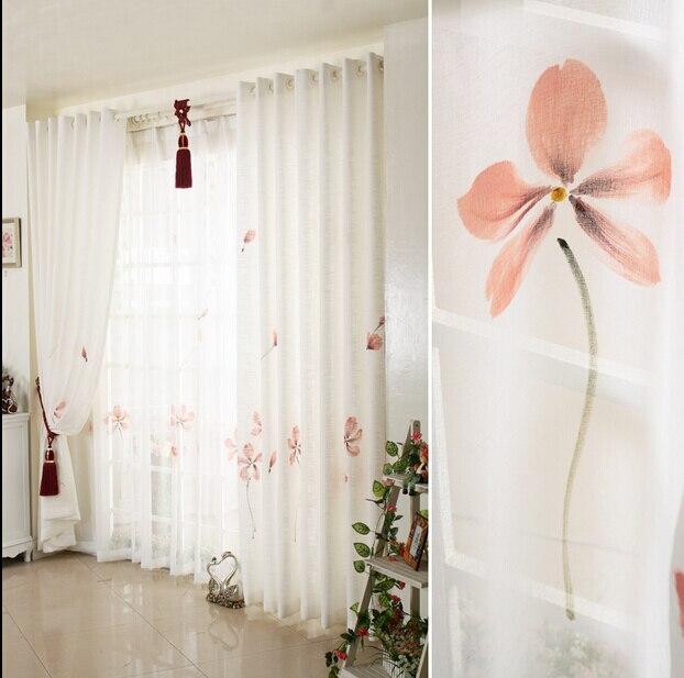 Alta calidad decorada a mano cortinas para sala de estar cortinas para windows blanco flor roja.jpg