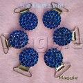 Azul frete Grátis 12 Pcs Bling rhinestone cristal titular Mordedores chupeta clips Duckbill clipe cadeia chupeta do bebê peças de Metal