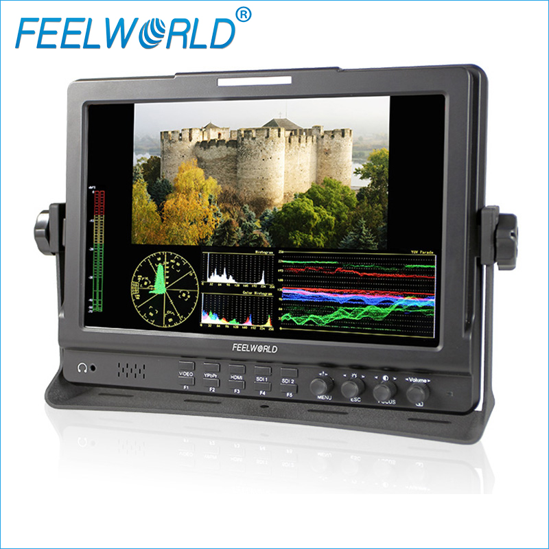 Feelworld FW1019 10.1 Inch IPS Field Monitor with Waveform Vectorscope Color Histogram 3G-SDI DSLR Camera External LCD Monitors new aputure vs 5 7 inch 1920 1200 hd sdi hdmi pro camera field monitor with rgb waveform vectorscope histogram zebra false color