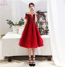 Wine Red Prom Dress Short Keen Length Short Sleeves Capped Lace-up Lace Appliques Beading Sequined Scoop Neck Evening Dresses stylish scoop neck short sleeve women s appliques denim dress
