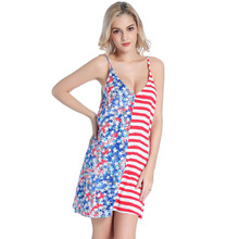 Sexy Suspenders Seaside Beach Dresses New 2018 Summer Fashion Sleeveless Dress US Flag Printed