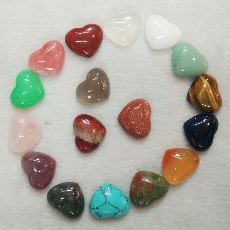 2017 new top quality Assorted natural stone heart shape cab cabochons beads for jewelry making 15x18mm wholesale 30pcs/lot free