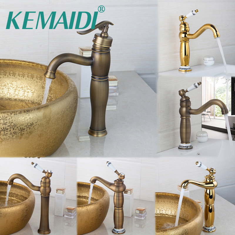 KEMAIDI Bathroom Basin Faucets Antique Brass Bathroom Faucet Wash Basin Tap Swivel Single Handle Hot and Cold Water Mixer Taps bathroom faucet into the wall cold and hot water taps embedded type mixer double handles table basin wash basin faucet torneira