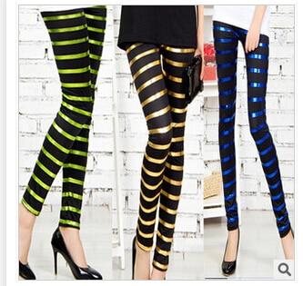 5pcs/lot free shipping korean style sexy slim women ice silk colorful stripes leggings larger stretchy mid waist skin legging