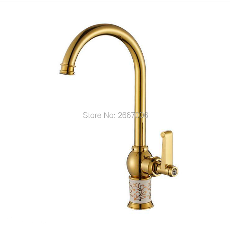 Free shipping Golden Color Marble Jade Faucet Tap Hot Cold Mixer Faucet Tap 360 Degree Swivel Spout Kitchen Sink Faucet GI423 led spout swivel spout kitchen faucet vessel sink mixer tap chrome finish solid brass free shipping hot sale