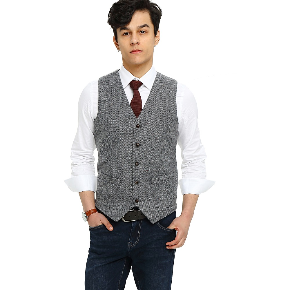 2018 Airtailors Light Gray Donegal Tweed Vest Men Suit