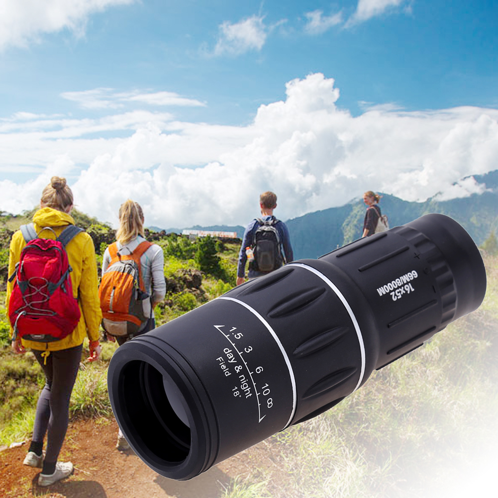 Portable 16 X 52 High Over Binoculars Telescope Monocular 66 / 8000M Plastic Binoculars Outdoor Black Outdoor Sports Telescope