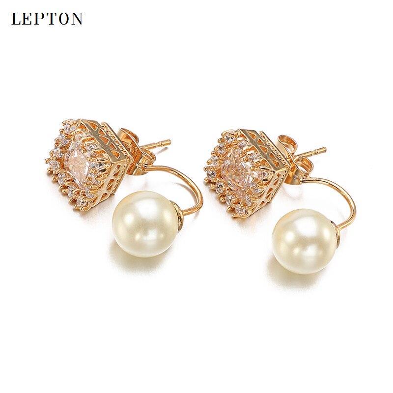 Lepton carré clair Zircon boucles d'oreilles oreille veste or & platine globulaire perle boucles d'oreilles boucles d'oreilles pour femmes bijoux