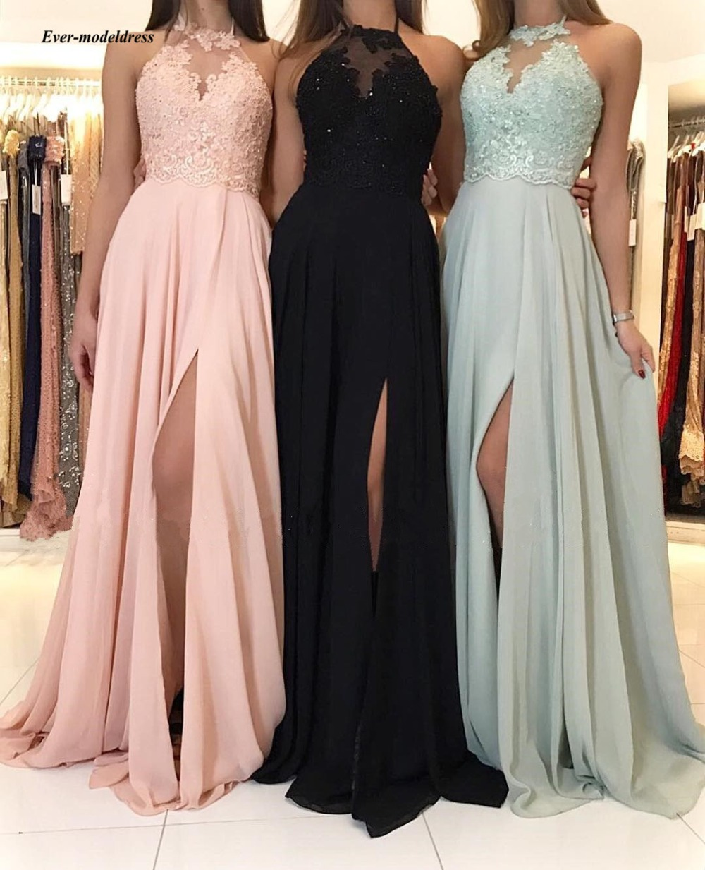 2019 Chiffon   Bridesmaid     Dresses   Long Sexy Side Split Halter Neck Lace Appliques Beaded Simple Wedding Guest Party Gowns Cheap